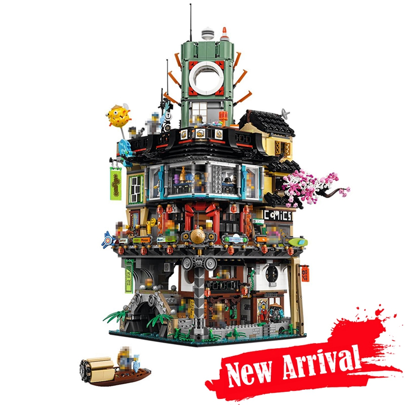 Ninja City Lepin 06066 4953pcs The Movie JAY KAI LLOYD GARMADON Modular Building Blocks Bricks DIY Toys Compatible with 70620 phantom ninja misfortune s keep diy model building blocks figureblock jay lloyd kai bucko toys compatiable with 70605