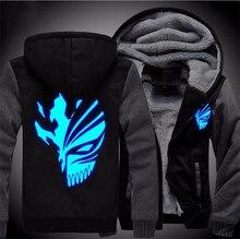 USA size Anime BLEACH Kurosaki ichigo Sweatshirts Hoodie Luminous Unisex Thicken Jacket Coat