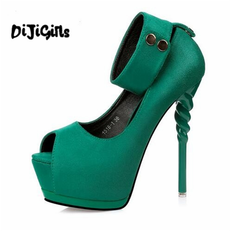 2018 Spring Summer Women Pumps Sexy peep toe platform wedge ultra high heels Fashion Ankle strap Club party shoes woman 2018 fashion colorful 19cm peep toe sexy ultra high platform heels for women s pumps with shoes woman wedding ladies party
