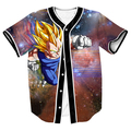 Newest Anime Dragon Ball Z Vegeta Jersey Galaxy Tees Hipster Button 3D Shirts Baseball Jersey Streetwear Overshirt Tops