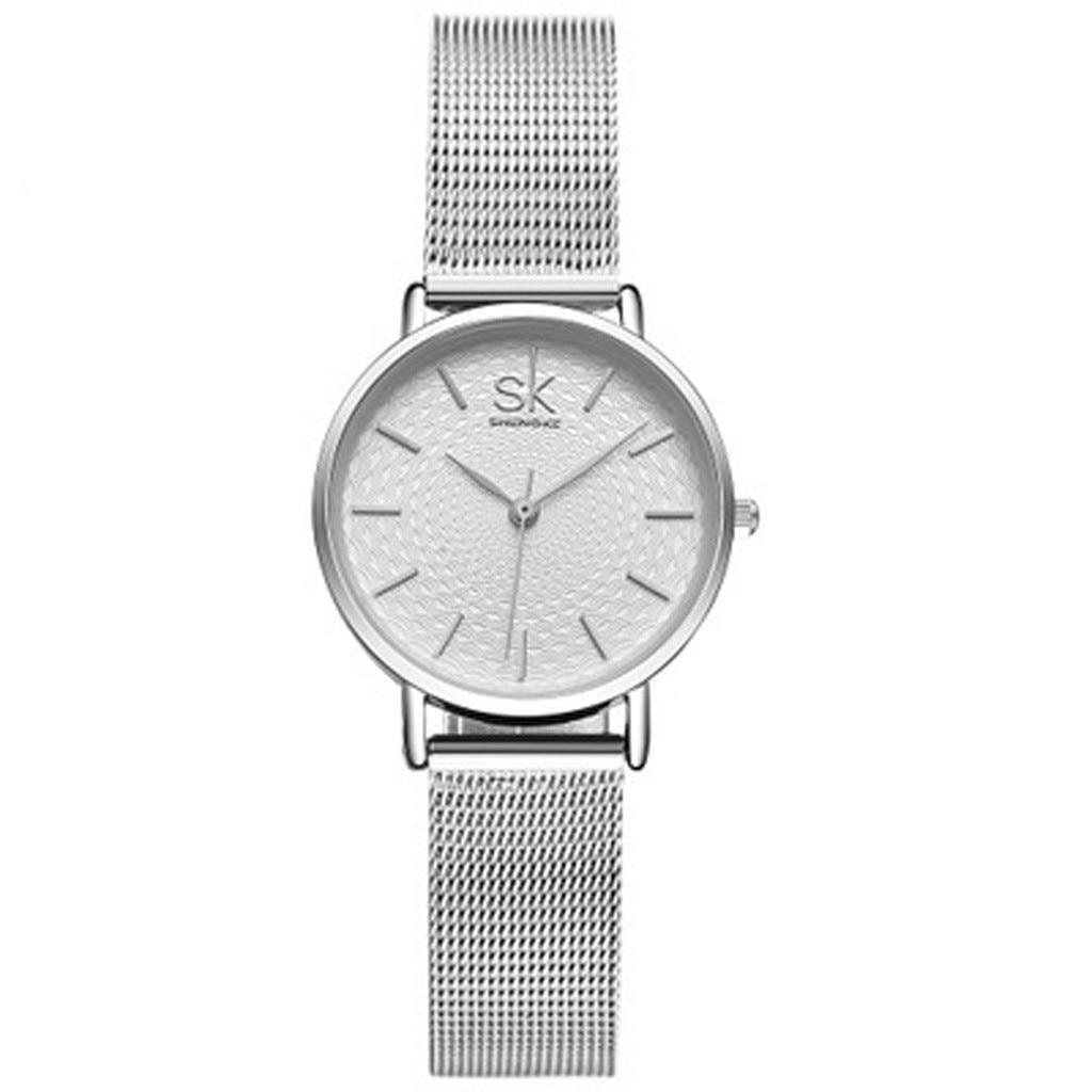 Women Fashion Stainless Steel Band Analog Quartz Round Wrist Watch