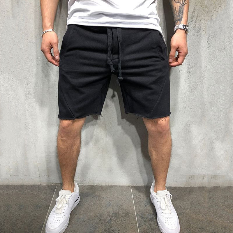 Cotton Shorts Side-Pockets Mens Drawstring Elastic Knee-Length with Waist