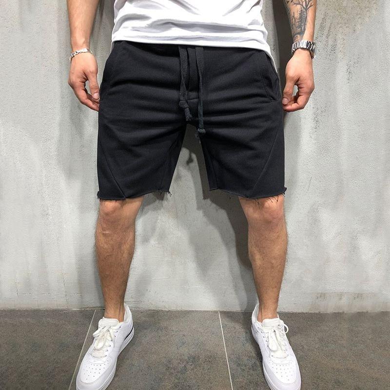 Mens Knee-length Cotton Shorts With Elastic Drawstring Waist Men's Sweatshort With Side Pockets Summer Shorts Short Pants