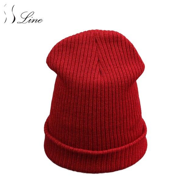 SSLine Chapéu do Inverno Nova Moda Mulheres Homem Skullies Gorros Unisex  Adulto Quente Malha de Algodão c8f34ab9c9b