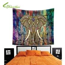 Indian Elephant Mandala Tapestry Wall Art Tapestries Beach Throw Shawl Table Cloth Yoga Mat Gypsy Bedspread Home Decor