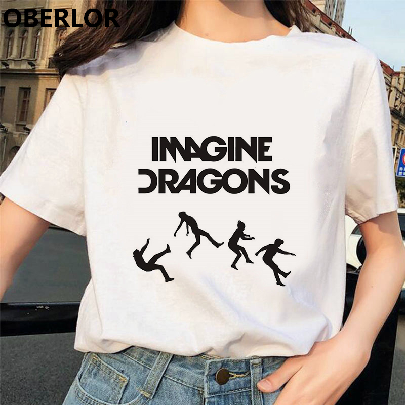 Korean 90s Burgundy Imagine Dragons T Shirt Novel Anime Style Tshirt Cool Woman T-shirt Graphic Tees Women Streetwear Clothes