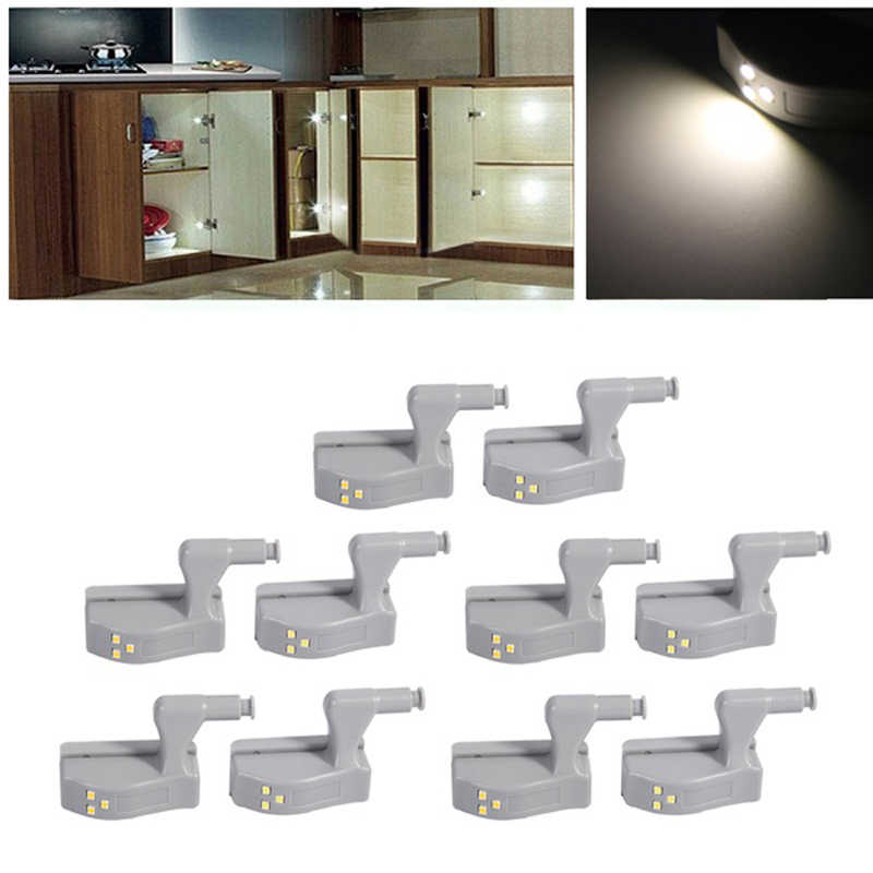 Myhomera 10Pcs Lot LED Cabinet Hinge Light Wardrobe Sensor Touch Lamp Night Lights Under Inner Cupboard ABS Bulb Lighting 0.3W