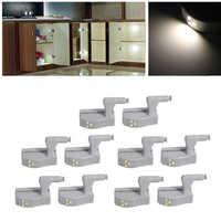 Myhomera 10 pièces Lot LED armoire charnière lumière armoire capteur tactile lampe veilleuses sous placard intérieur ABS ampoule éclairage 0.3W