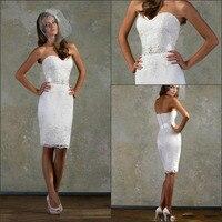 New Cheap Swetheart Beaded Belt Lace Knee Length Short Wedding Dress Bridal Gowns Custom Made Size