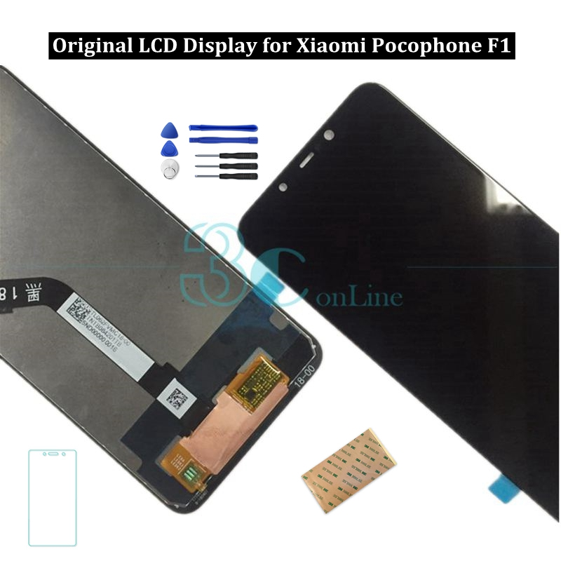 Original Xiaomi Pocophone F1 LCD Display Screen 10 Point Poco F1 Touch Panel Digitizer Assembly Replacement