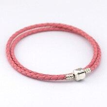 Compatible con encantos europeos del estilo doble capa de color rosa pulsera de cuero tejida joyería con 925 broche de plata PL12009