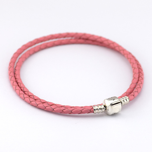 Compatible With European Style Charms Double Layer Pink Woven Leather Bracelet Jewelry with 925 Sterling Silver Clasp PL12009