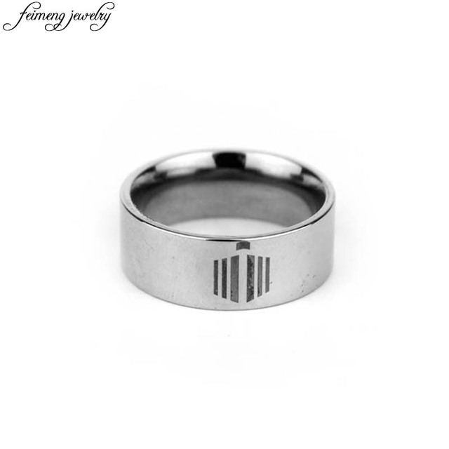 BBC Classic Doctor Who Ring Charm Silver Tardis Logo Stainless Steel Ring  Menu0027s Fashion Jewelry Accessories