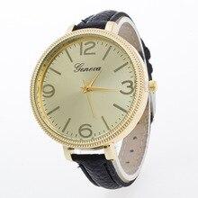 2016 Moda Big Dial Genebra PU Relógio de Pulso para Mulheres Das Meninas Das Senhoras de Couro relógios de Pulso Cinta Fina Concha de Ouro OP001