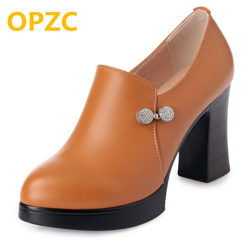 OPZC Shoes high heels woman 2018 autumn new genuine leather ladies shoes yellow, platform sexy shoes women Party pumps цена