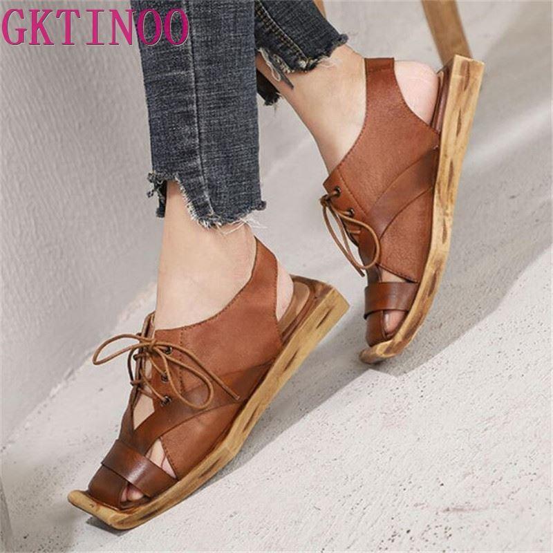 GKTINOO Original printemps et été nouveau cuir véritable plat femmes chaussures personnalité rétro confortable à la main sandales décontractées