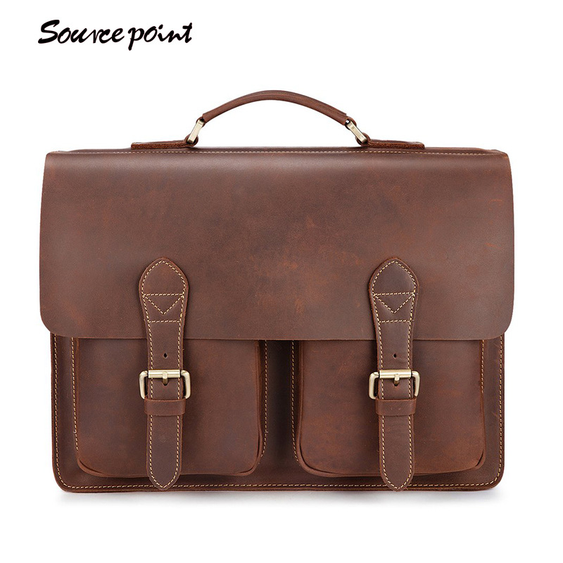 SOURCE POINT New Crazy Horse Leather Portfolio Vintage Cowhide Leather Totes Business Bags For Men High Quality  YD-88 business padfolio portfolio with letter size writing notepads deluxe executive vintage brown leather padfolio new