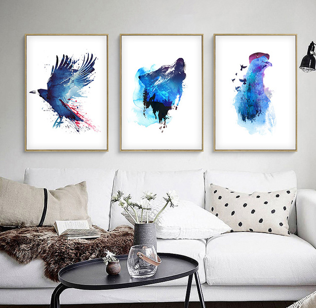 Watercolor nordic blue ocean animals diy oil painting abstract canvas art print poster pictures home decoration