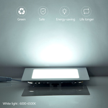 LED Panel Lights 3w 4w 6w 9w 12w 15w 18w 24w AC165-265V Ultra-thin Lamp Downlight Recessed Square Ceiling Light 220V Down Light