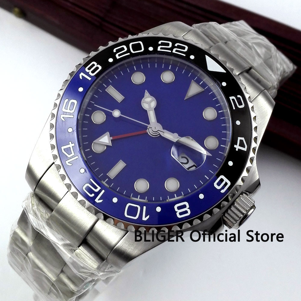 Sapphire Glass BLIGER 40mm Blue Sterile Dial Black Blue Ceramic Bezel Red GMT Pointer Luminous Automatic Movement Men's Watch