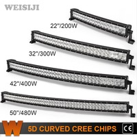 WEISIJI 22 32 42 49 5D Curved LED Light Bar With CREE Chips Offroad Led Work