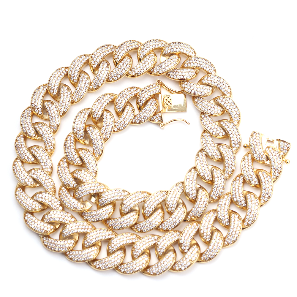 Rhinestone Gold Miami Cuban Link Necklace Mens Hip hop Necklace Fashion Jewelry Micro-inlaid zircon Iced Out Bling Collar Rhinestone Gold Miami Cuban Link Necklace Mens Hip hop Necklace Fashion Jewelry Micro-inlaid zircon Iced Out Bling Collar