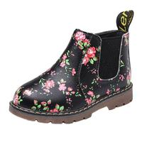 Fashion Popular Children Girls Martin Sneaker Winter Boots PU Leather Zipper Floral Print Baby Casual Shoes