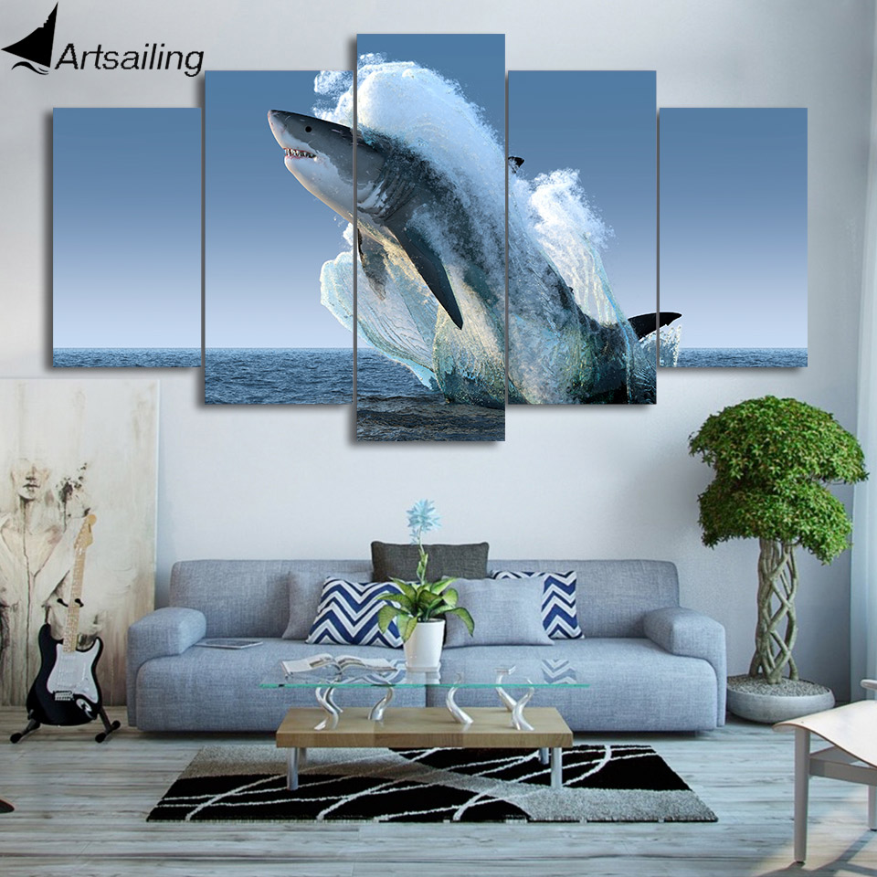HD Printed 5 Piece Canvas Art Jumping White Shark Painting Wall Pictures for Living Room Modern