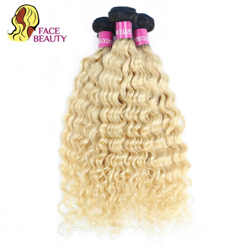 Facebeauty 613 Platinum Blonde Fasci Onda Profonda 12-28 Inch Malese Ricci Del Tessuto 1/3/4 Dei Capelli Umani di Remy fasci di Trasporto Libero