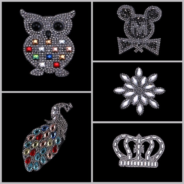 1PC Iron On Hotfix Rhinestones Patches Motif Women Glass Hot fix Bride Wedding  Dress Clothes Mouse Crown Starfish Peacock 35899380976c