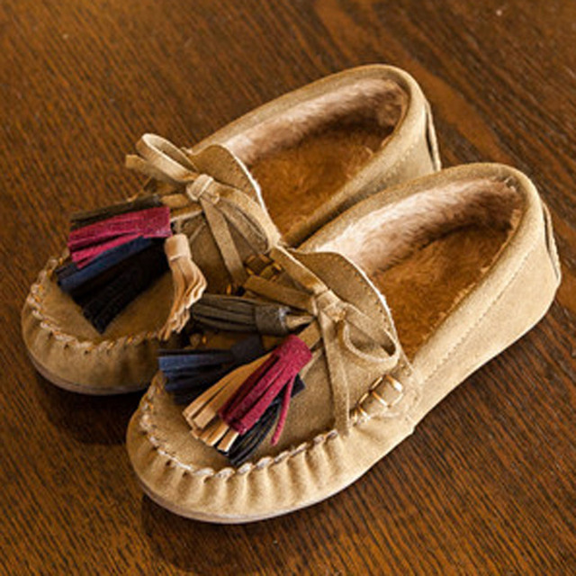 2017  Winter Plush Lining kids Moccasins Tassel Baby Casual  shoes Slip On Children Warm Shoes Infant Creepers