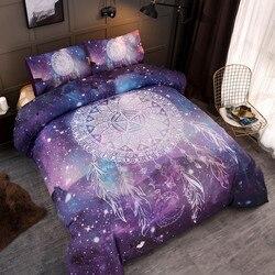 Bonenjoy fioletowy kolor Dreancatcher zestaw pościeli w stylu amerykańskim Twin Queen duży rozmiar Galaxy Starry kołdra zestaw osłon podwójny rozmiar