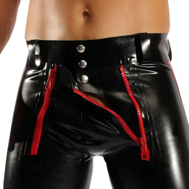 New Erotic Mens Leather Zipper Open Shorts Lingerie Sexy Boxers Black Faux Leather PU Shorts For Male Underwear Underpants