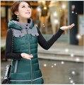 2017 nueva otoño invierno mujeres abrigo largo ocasional de la chaqueta delgada ajuste del collar del soporte hacia abajo chaleco de algodón chaleco mujeres clothing WE777