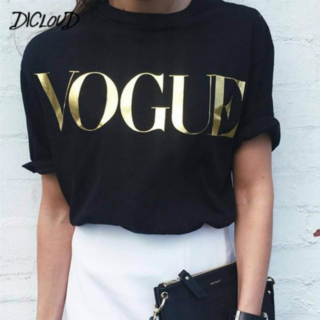 DICLOUD Plus Size XS-4XL Summer T Shirt Women Fashion VOGUE Print T-Shirt Woman Black White Casual Tops Tee Shirt Femme Hot Sale