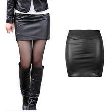 Hot New Phụ Nữ Ladies Sexy Cao Eo Bodycon Faux Leather Wet Look chiếc Váy Mini Màu Đen(China)