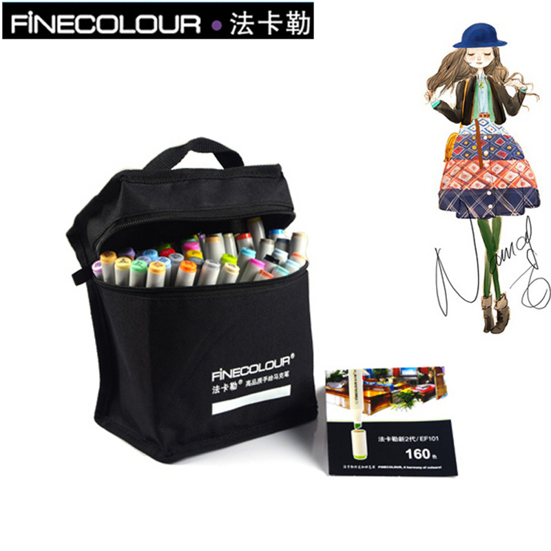 FINECOLOUR 36 48 60 72 Colors Alcohol Based Marker Double Head Brush Art Sketch Marker Student Painting Sketch Drawing Marker finecolour ef101 alcohol based art sketch twin marker brush non toxic markers for school supplies 24 36 48 72 color set in bag