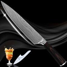 Geschirr 8 zoll chef edelstahl küche messer Damaskus muster klinge rostbeständig neue kochen werkzeuge pakkaholz griff