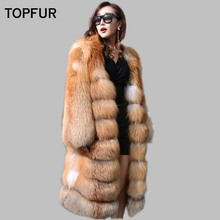 TOPFUR 2018 New Coming Red Fox Fur Coat X-Long 100 Cm Soft Hot Sell Female Favorite Winter Fashion Outwear