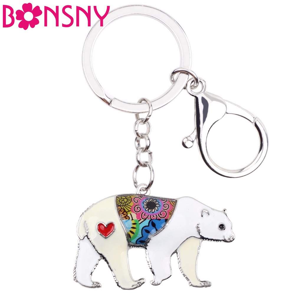 Marte&joven Cute Bear Gift Keychain For Women Girls Unique Colorful Enamel Polar Bear Charm Jewelry Keyring Jewelry Sets & More