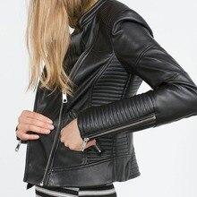 2017 Nouvelles Femmes De Mode Faux Cuir Souple Vestes CHAUDE Automne Hiver Pu Blazer Noir Fermetures À Glissière Manteau Moto Survêtement