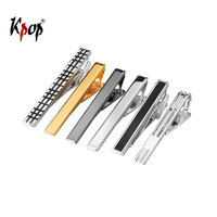 Kpop Tie Clip Set Men Wedding Accessories Groomsmen Gifts Fashion Gold/Silver Color Business Metal Tie Bar TC3345