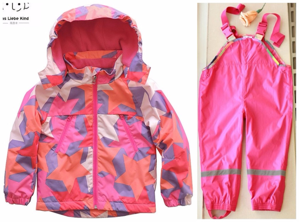 Boy girl jacket baby jackets spring and autumn jacket plus pants children windbreaker autumn children's suit Wind proof to ride цены