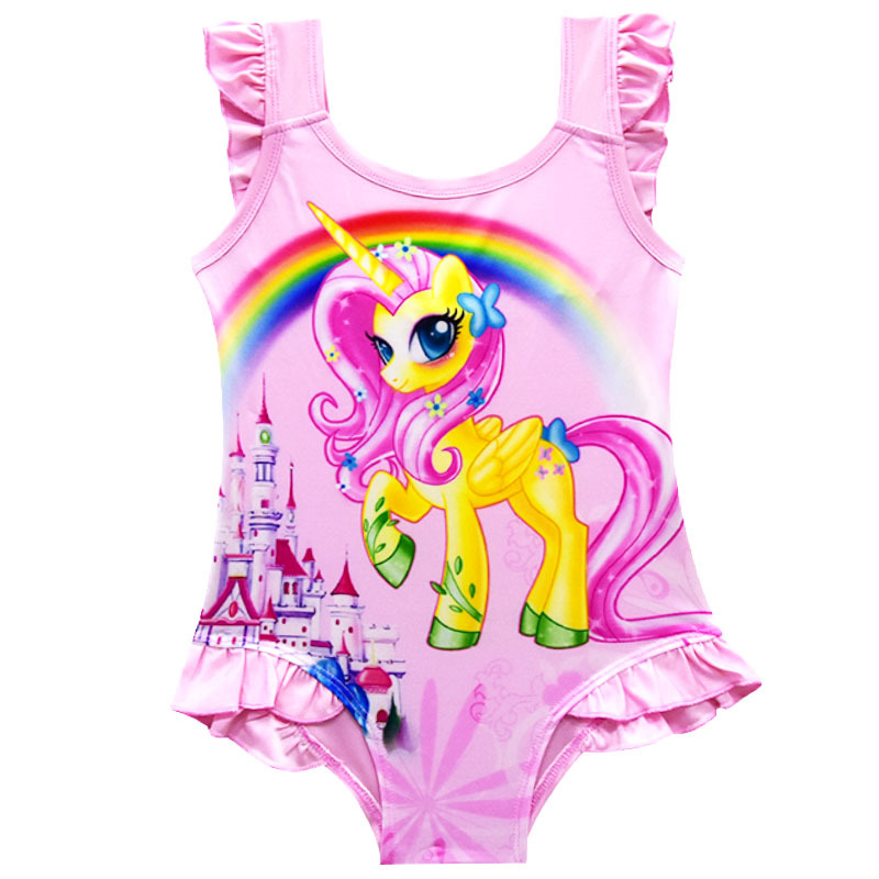 e686bf4f869 Little Pony Kids Pony Fluttershy Swimsuit Rainbow Beach Swimsuit Children  Girls Beach Tunic Swimwear Ruffled Kids Girls Swimwear