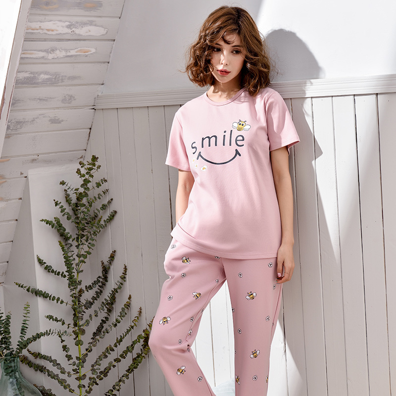 Summer Female Short Sleeve tops Cotton Family clothing Pajama Set For Women Casual Pijama Girls Long pants Pyjama Two Piece Suit
