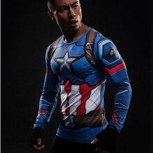 2017 Captain America 3 T shirt men long sleeve 3d tights t shirts avengers alliance civil
