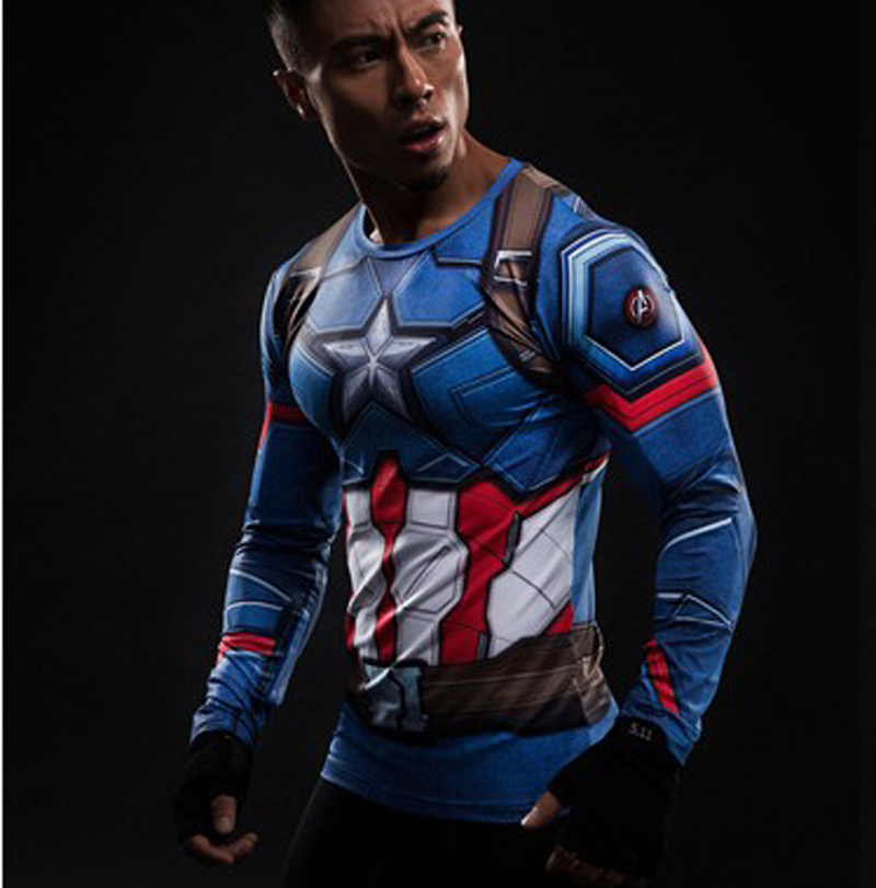 2017 Captain America 3   T  -  shirt   men long sleeve 3d tights   t     shirts   avengers alliance civil war compression fitness summer   t  -  shirt