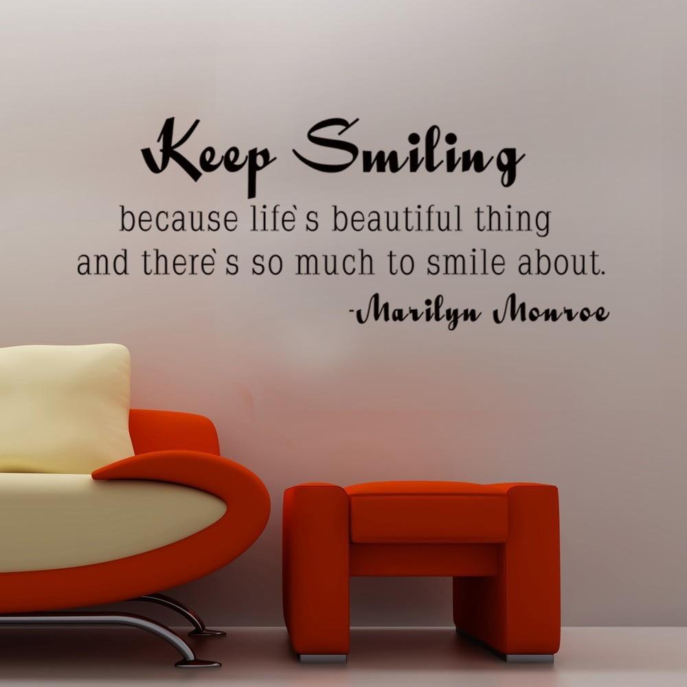 Marilyn Monroe Zitat Halten Lächeln Inspirierend Leben Wand