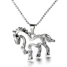 Charm Crystal Hollow Horse Pendant Necklace Shellhard Rhinestone Silver Plated  Link Chain Chokers Necklaces For Womens Jewelry