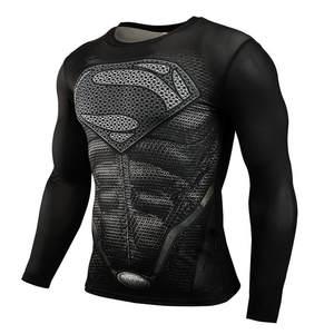 8be71def NEW 2018 Superman Punisher Rashgard Running Shirt Men T-shirt Long Sleeve  Compression Shirts Gym T-shirt Fitness Sport Shirt Men